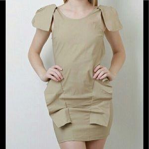 Dresses & Skirts - Beige Nude Bold Shoulder Backless Peplum Dress 🍁